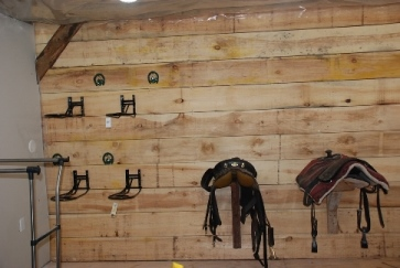 Tack room in progress - saddle racks